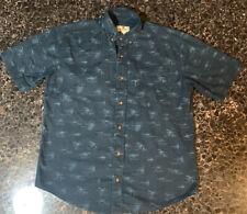 Woolrich Short Sleeve Shirt Med Fly Fishing Blue 100% Cotton 6169 Dpn Fly Instr