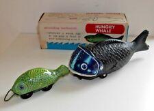 Vintage mécanique Hungry Whale Toy 3391 Shackman Japon rare années 1970 Boxed B403