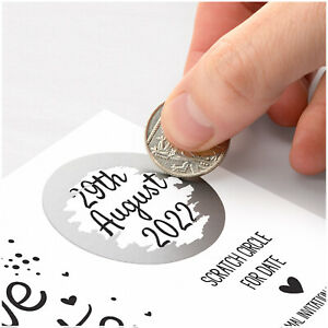 PERSONALISED Save The Date Cards Scratch Off Reveal Wedding Date Announcement