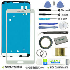 Samsung Galaxy Note 3 Front Glass Lens Screen Replacement Repair Kit WHITE UK