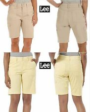 NWT Sz 14 Lee Cargo Relaxed Fit Mid Rise Stretch Yellow Beige Shorts New w/ Tags