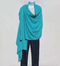 100% Cashmere Shawl/Wrap 4 Ply Hand Loomed Nepal Mini Herringbone Turquoise