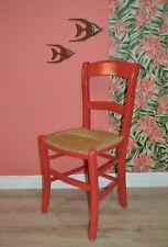 Vintage 70er Stuhl mit Bast Sitzfläche uriger Design Klassiker Küchenstuhl rot