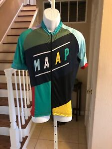 MAAP Cycling Jersey Italy Full Zip Polyester Spandex Black Multi-Color Panels XL