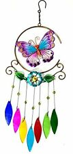 Bejeweled Display® Unique Beautiful Butterfly w/ Stained Glass Wind Chimes, New