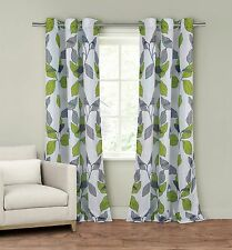 """Set of Two (2) Window Curtain Panels: 110"""" x 84"""", Grommets, Gray and Green Leaf"""