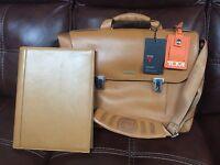 Genuine TUMI Formula T Briefcase with Dividers Model 2951DF Orange Leather Nylon