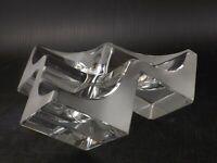 Daum Triform Cube Crystal Art Glass Sculpture Vide Poche Bowl Ashtray, France