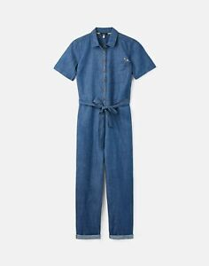 Joules Womens Harlow Chambray Jumpsuit - Blue - 18