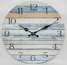 34cm Rustic Country Provincial Beach Boat Shack Stripes Wall Clock BNIP
