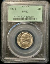 1938 PROOF JEFFERSON NICKEL PCGS PR 67 OLD GREEN HOLDER.  MIGHT UP GRADE!