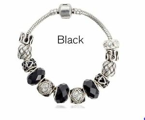 NEW 21cm High Quality Silver Plated Black Glass Beads European Charm Bracelet
