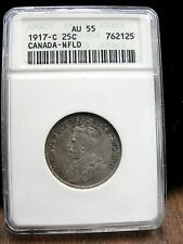 1917 C Canada 25 Cent Silver Coin ANACS Graded AU 55