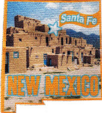 """""""SANTA FE NEW MEXICOI""""  State Shape Capitol City Iron On Printed Patch"""