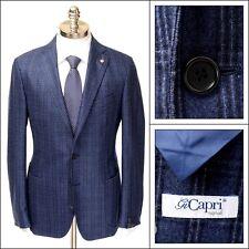 GI CAPRI Napoli Blue Plaid Wool Unconstructed 2Btn Coat Jacket 54 7R 44 R NWT
