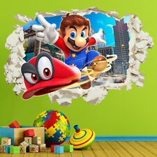 Super Mario Odyssey Wall Stickers Decals in Crack Bedroom Kids Gift Home Decor