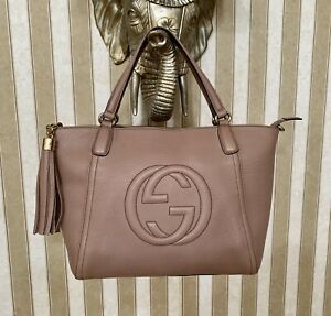 GUCCI $1590 WOMENS SOHO LIGHT PINK LEATHER GG CROSSBODY PURSE TOTE BAG ITALY