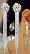 Silver Tone Long Drop Diamonte / Diamanté Tassel Tassle Earrings - NEW!