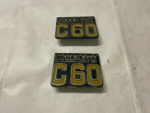1973-1987 Square Body Chevy C60 Fender Emblems Metal Badges Chevrolet One Ton