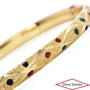 Estate 14K Gold Enamel Dots Textured Bangle Bracelet 5.8 Grams NR