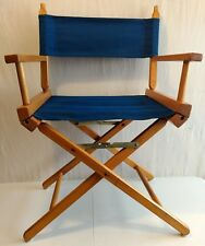 VINTAGE FOLDING DIRECTORS CHAIR BLUE CANVAS FURNITURE WOOD OUTDOOR SEAT