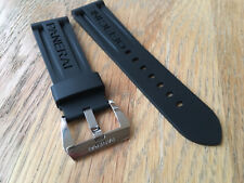 OFFICINE PANERAI OEM 24mm BLACK RUBBER STRAP WITH OEM POLISHED TANG BUCKLE