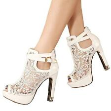 Women's Pretty Lace Flowers Open Toes High Heels Ankle Boots Booties Platform
