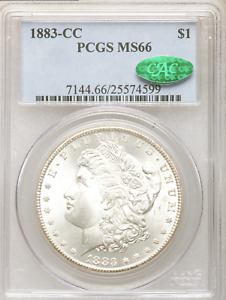 1883-CC Morgan Dollar PCGS MS66 CAC White, Reflective Fields near PL Obv & Rev