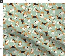 Ditsy Beagle Mint Dog Beagles Vintage Hound Fabric Printed by Spoonflower BTY