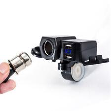 12V Dual USB ATV Moped Scooter LED Charger Socket Voltmeter w/ Cigarette Lighter