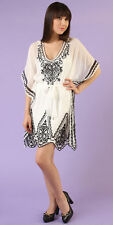 Hale Bob White Embroidered Silk Summer Tunic Dress XS NWT 3DSN6181
