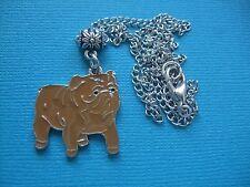 Handmade Bulldog Necklace & Pendant Dog Metal Silver Tone Enamel Brown British