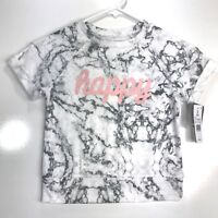 Grayson Social Girls Size Small Short Sleeve T-Shirt Happy Gray White Marbled