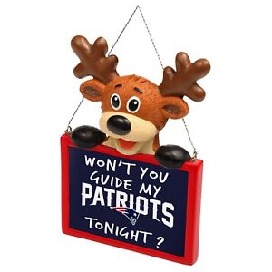 New England Patriots Reindeer with Sign Resin Holiday Christmas Tree Ornament