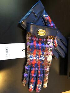 NEW GUCCI BLUE LEATHER BRIGHT TWEED CASHMERE LOGO GLOVES SIZE 7.5