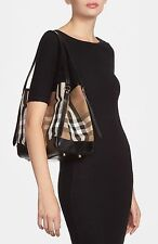 BURBERRY House Check Shoulder Tote Bag W Leather Trim ITALY ~ Black Leather