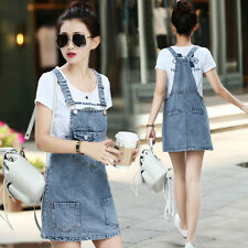 Korean Women Casual Denim Skirt Suspender Skater Overall Jumper Jean Strap Dress