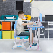 Height Adjustable Study Desk And Chair Set With Tilted Desktop And Drawer