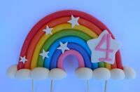 3D edible RAINBOW 15cm cake topper decoration clouds BIRTHDAY PERSONALISED AGE