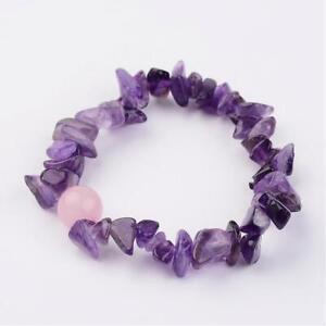 Amethyst Rose Quartz Bracelet Crystal Gemstone Bangle Chakra Stress Anxiety UK