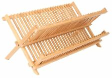 Dish Drainer Foldable 2 Tier Bamboo For Kitchen Dry And Store Utensils Compact