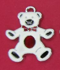 10 Cute White Bear Red Bow Enamel Charm/Bracelet/Girl Jewelry/Craft/Beading K62