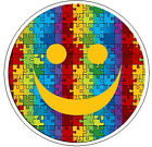 "PUZZLE SMILEY FACE Autism Awareness - 1"" Round Stickers"