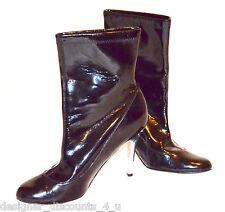 "LADIES NINA Women's Black shiny sexy Ankle Boots gunmetal heel 4"" High Heels 9M"