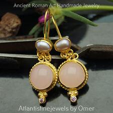 Pink Topaz & Pearl Handmade Turkish Earrings 24k Gold Vermeil Sterling Silver
