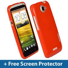ROSSO lucido TPU Gel Custodia per HTC One X + Plus S720e Android Skin Cover Titolare 1