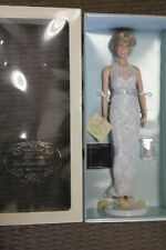 Franklin Mint Vinyl Princess Diana Doll White Lace Gown With Jewelry On!  16""