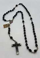 "Vintage Cathoic French Cocoa Wood 5 Decade Rosary, Crucifix, France 20"" Long"