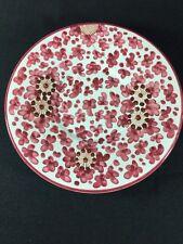 Grazia Deruta Hand Painted Italian Purple Floral White Round Bread Butter Plate