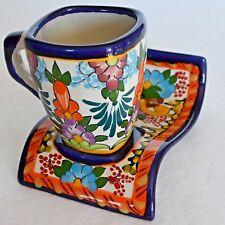 Mexican Folk Art Pottery Loza Poblana Cup & Wave Saucer Coffee Tea Demitasse